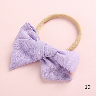 Baby Kids Toddler Soft Cotton Bow Tie Ring Nylon Headband Girls Hair Accessories 11