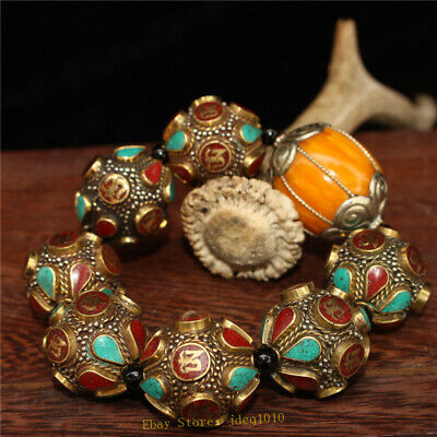 """4.72"""" Chinese Exquisite pure copper Turquoise Beeswax Handmade beads Bracelet 9"""