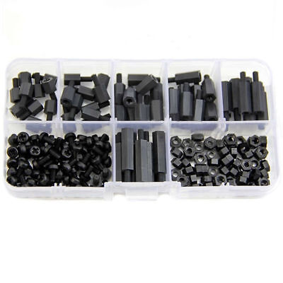 180Pcs M3 Nylon Black M-F Hex Spacers Screw Nut Assortment Kit Stand off Set Hot 2
