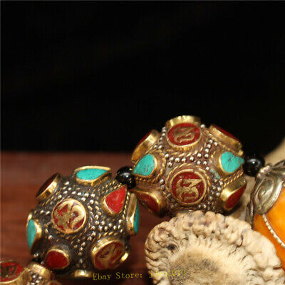 """4.72"""" Chinese Exquisite pure copper Turquoise Beeswax Handmade beads Bracelet 5"""