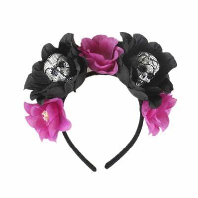 Halloween The Dead Flower Crown Headband Womens Horror Foam Skull Hair Hoop 8