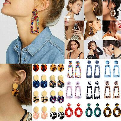 HOT Acrylic Statement Tortoise Shell Earrings Fashion Hoop Resin Dangle Earrings 7