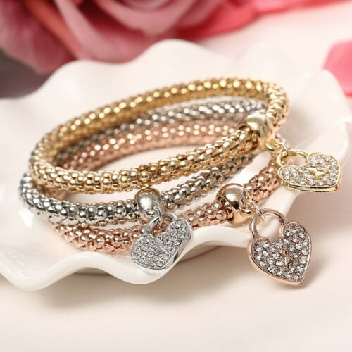 Fashion Women 3Pcs Gold Silver Rose Gold Bracelets Set Rhinestone Bangle Jewelry 4