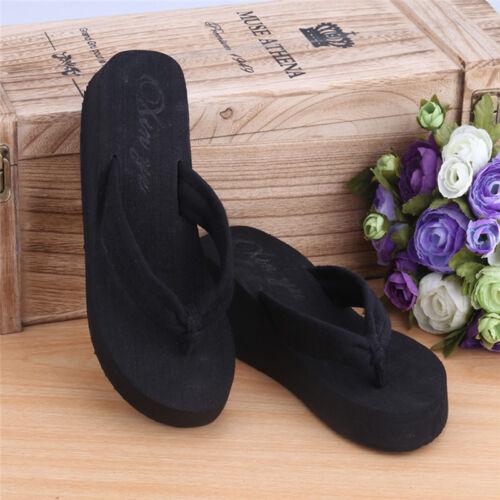 c55747d6d770 Women Summer Wedge Sandals High Heels Platform Flip Flops Slippers Beach  Shoes 8 8 of 11 ...