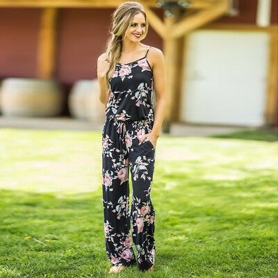 Boho Womens Floral Holiday Long Playsuits Dress Summer Beach Jumpsuit Plus Size 7