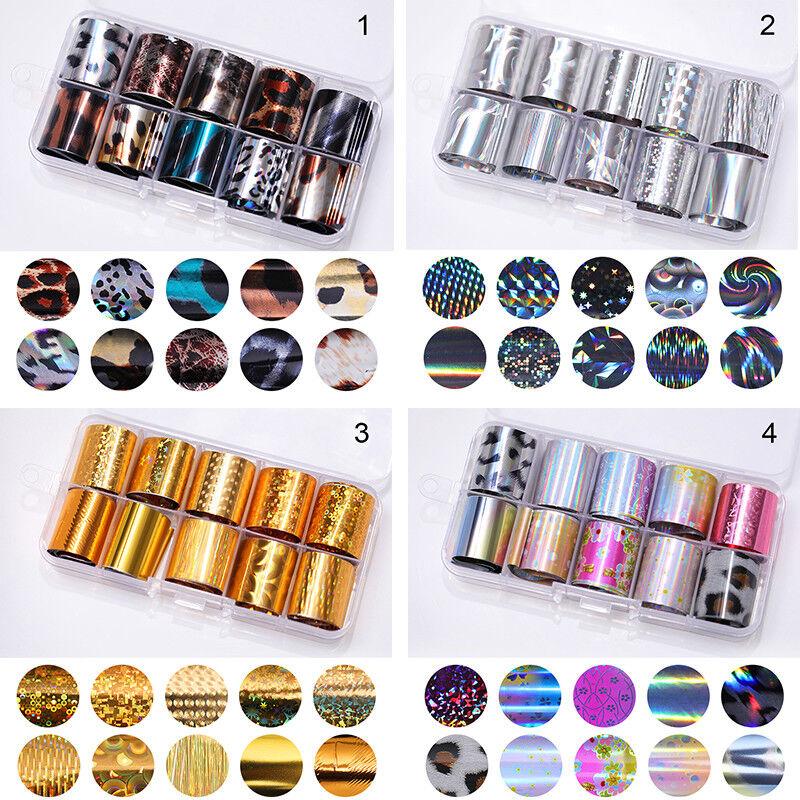 10 Rolls/Box Nail Foils Starry Sky Nail Art Transfer Mixed Pattern Stickers 3