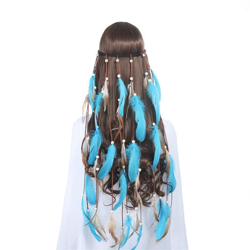 Indian Women's Hippie Feather Tassel Headband Weave Hairband Dress Costume 3