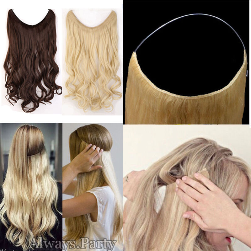 Secret Invisible Headband Wire Hair Extensions One Piece Long Wavy