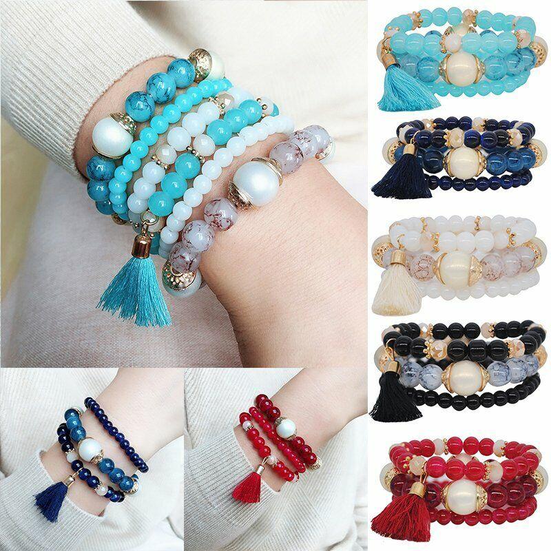 Boho Multilayer Natural Stone Bead Tassel Pendant Chain Bracelet Charm Women Set 11