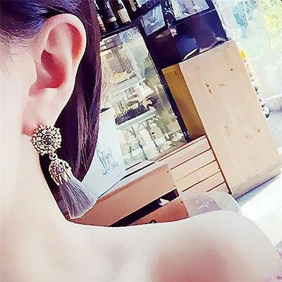 Women Thread Long Tassel Earrings Rhinestone Drop Statement Fringe Earrings 5