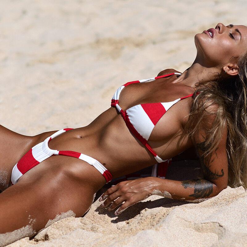 Womens Striped Bra Bikini Set Push Up Padded Sexy G Strings Swimwear Swimsuit XL 4