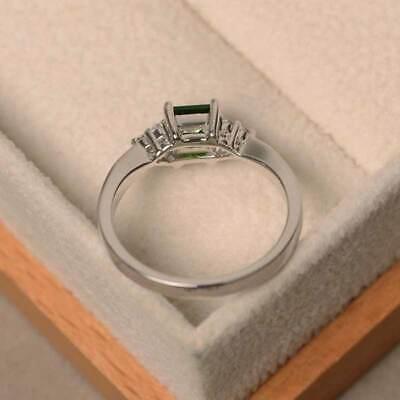 Elegant Women's Wedding Set Rings 925 Silver Princess Cut Emerald Ring Size6-10 4