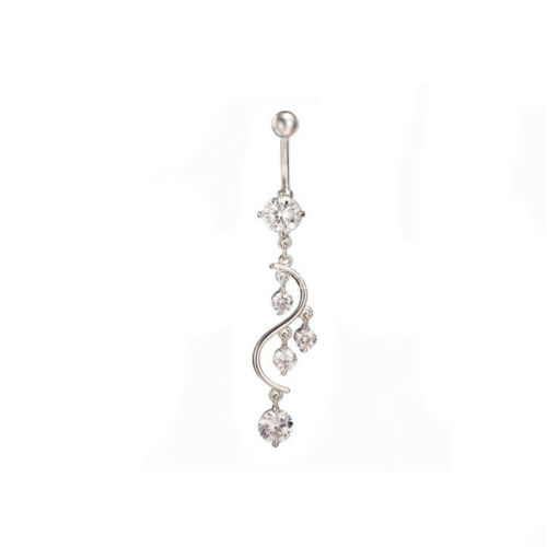 White Fire Opal Navel Rings Belly Button Bar Ring Dangle Body Piercing JewelODCA