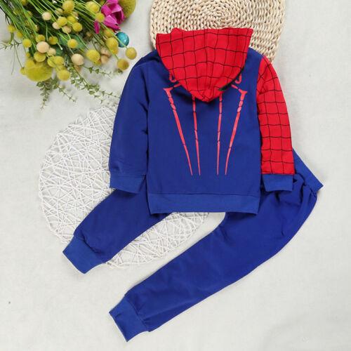 Spiderman Hoodies Toddler Boy Long Sleeve Hooded Tops Pants Kids Outfit Set 2-7T
