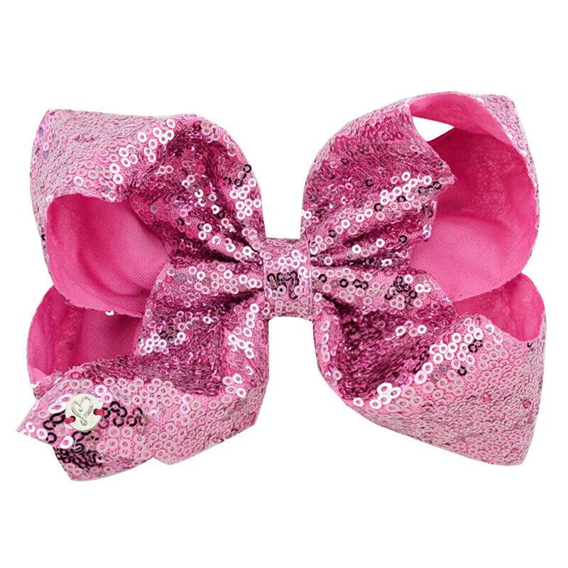 8 Inch Kids Girls Baby Glitter Sequin Cute Bowknot Hair Clips Hair Bows Hairpins 12