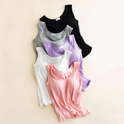 Women Ladies Camisole With Built In Shelf Bra Slim Sleeveless Tank Top Vest UK 4