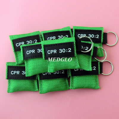 100 Cpr Mask Keychain Cpr Face Shield  Aed Green Writing Cpr 30:2 6
