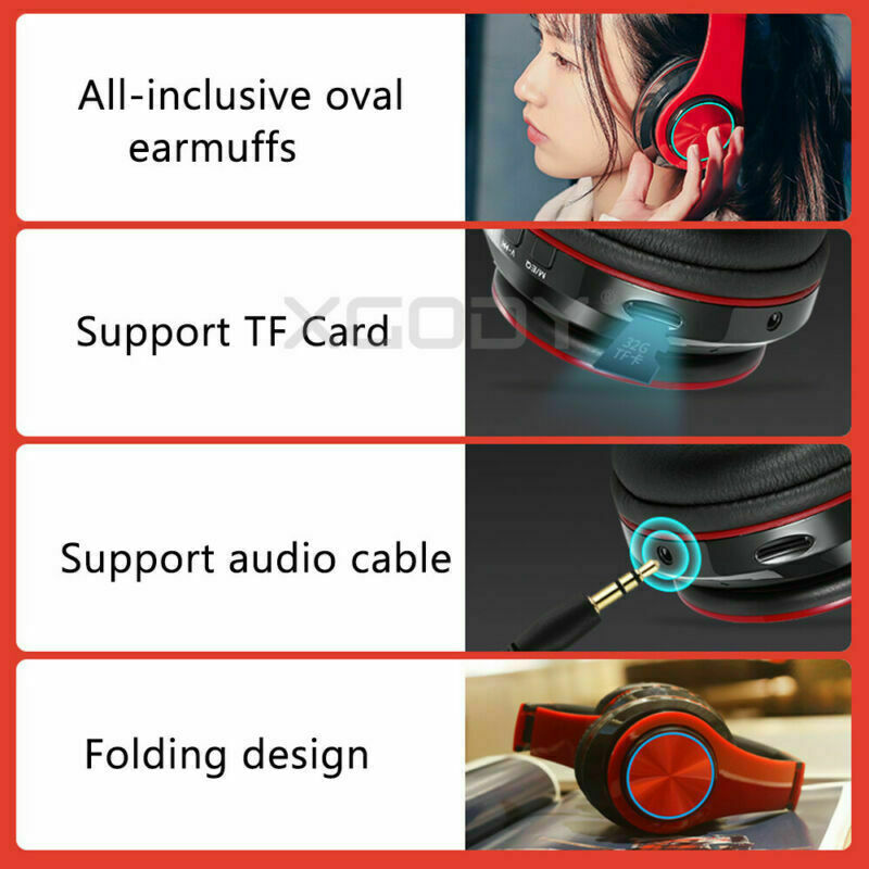 Wireless Headphones Stereo Bluetooth Headset Noise Cancelling Over Ear With Mic 3