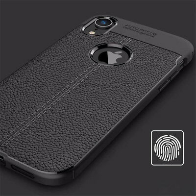 For iphone Xs Max Xr X 8 7 6S Silicone Rubber TPU Leather Slim Back Cover Case 8