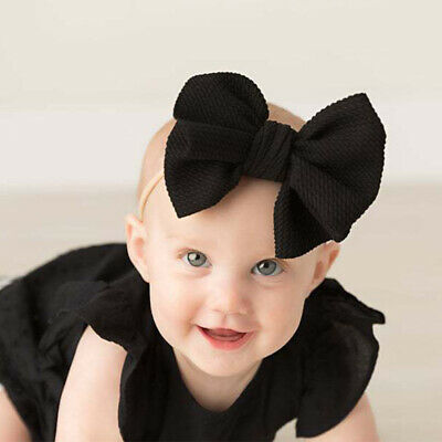 Nylon Baby Toddler Girls Big Bow Knot Headband Hairband Stretch Turban Head Wrap 10