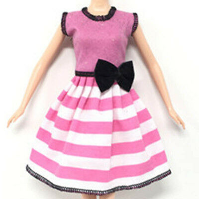"""Causal Wear Clothes For 11.5"""" Dolls Pink Princess Black Bowknot Short Dresses 2"""