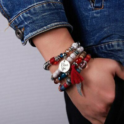 Women Boho Multi-layer Crystal Beaded Beads Bohemia Cuff Bracelets Set Bangle 6