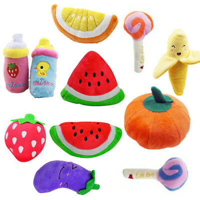 Pet Dog Cat Toy Funny Puppy Chew Squeaker Squeaky Plush Fruit Play Sound Toys 3