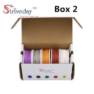 30m//box 22AWG 5 colors 6 meters//roll Flexible Silicone Rubber Tinned Copper Wire