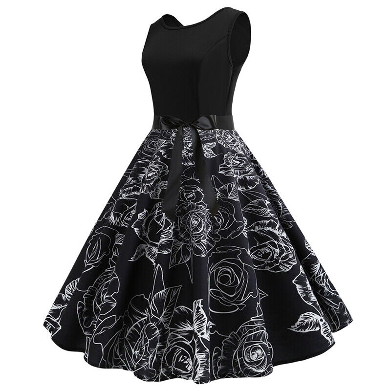 Womens 50s 60s Style Vintage Rockabilly Floral Pinup Swing Evening Party Dress 4