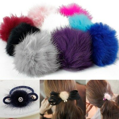 5× 6CM DIY Genuine Rabbit Fur Ball Chain Key Bag Pendants Fur Pompon Keychains 4