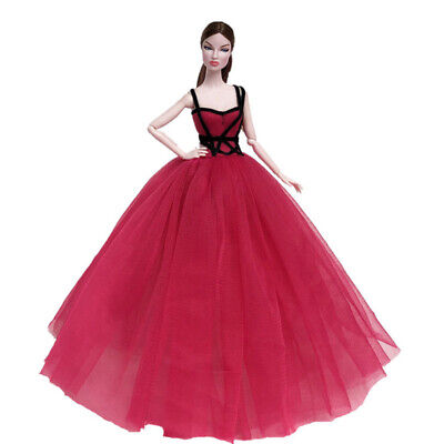 Red Black High Fashion Doll Clothes for 11.5in Doll Dress Evening Party Gown 3