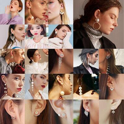 New Women Pearl Crystal Geometric Statement Drop Dangle Earrings Wedding Jewelry 6