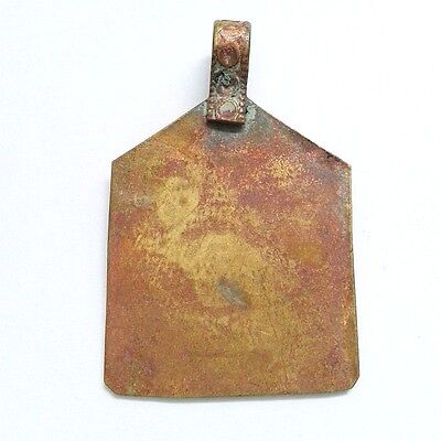 Old Bronze  2.5 cm x 4 cm Amulet Intaglio Carving Pendant Antiques Collectible 4