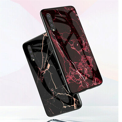 For Samsung Galaxy A70 A50 A20E A10 Marble Tempered Glass Hybrid Hard Case Cover 5