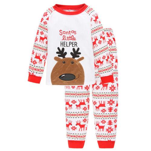 2Pcs Kids Boys Girls Christmas Pajamas Sleepwear Nightwear Xmas PJ's Outfits Set 5