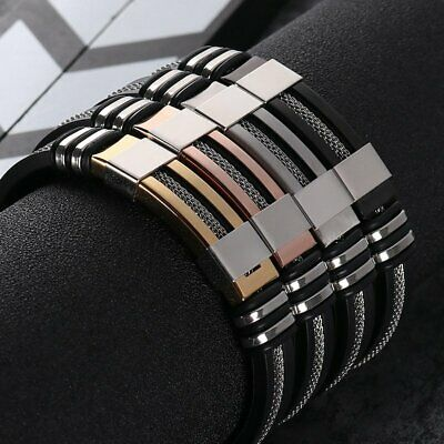 Unisex Women Men Braided Leather Steel Magnetic Clasp Bracelet Handmade 7