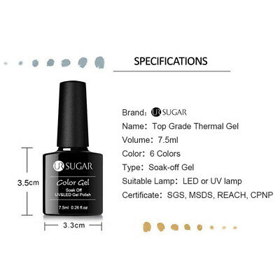 UR SUGAR Vernis UV Gel Thermique Nail Art UV Gel Polish Soak off Color Changing 3