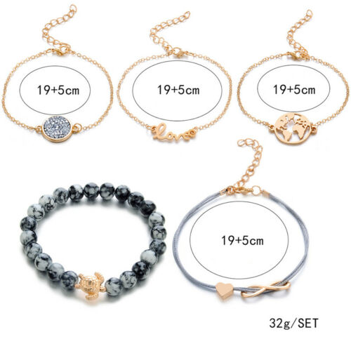 5Pcs /Set Women Fashion Bracelet Chain Map Heart Letter Love Beaded Jewelry CB 6