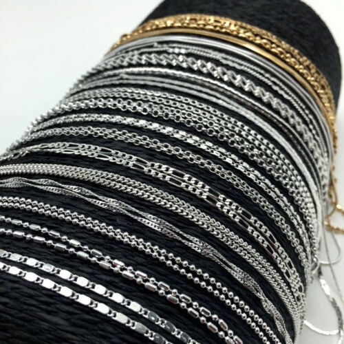 Lots 925Sliver Filled Gold Rolo Curb Snake Figaro Wave Chain Necklace Jewelry 3