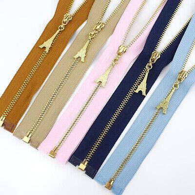 1Pc 20/40/50/60/70CM  Gold Teeth Metal Zips Sewing Zip Garment Accessories 8