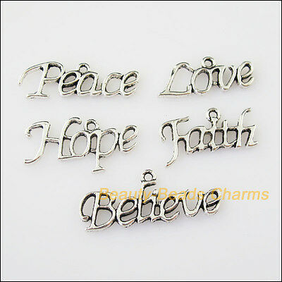 10 New Mixed Tibetan Silver Tone Peace Love Hope Believe Faith Charms Pendants