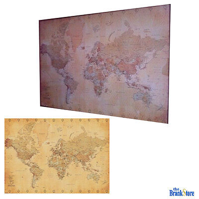 LARGE WORLD MAP Poster Vintage Wall Picture Retro Art Giant School ...