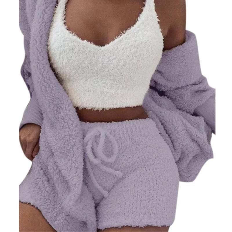 Women Fleece Sleepwear Hoodie Jacket + Crop Top + Shorts 3PCS Outfits Loungewear 10