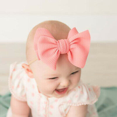 Nylon Baby Toddler Girls Big Bow Knot Headband Hairband Stretch Turban Head Wrap 9