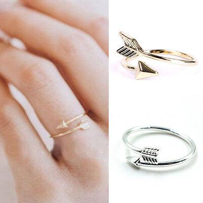 Magníficas mujeres anillos de oro plata ajustable flecha abierta anillo nudillo 2