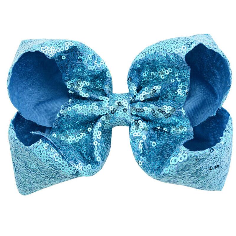 8 Inch Kids Girls Baby Glitter Sequin Cute Bowknot Hair Clips Hair Bows Hairpins 8