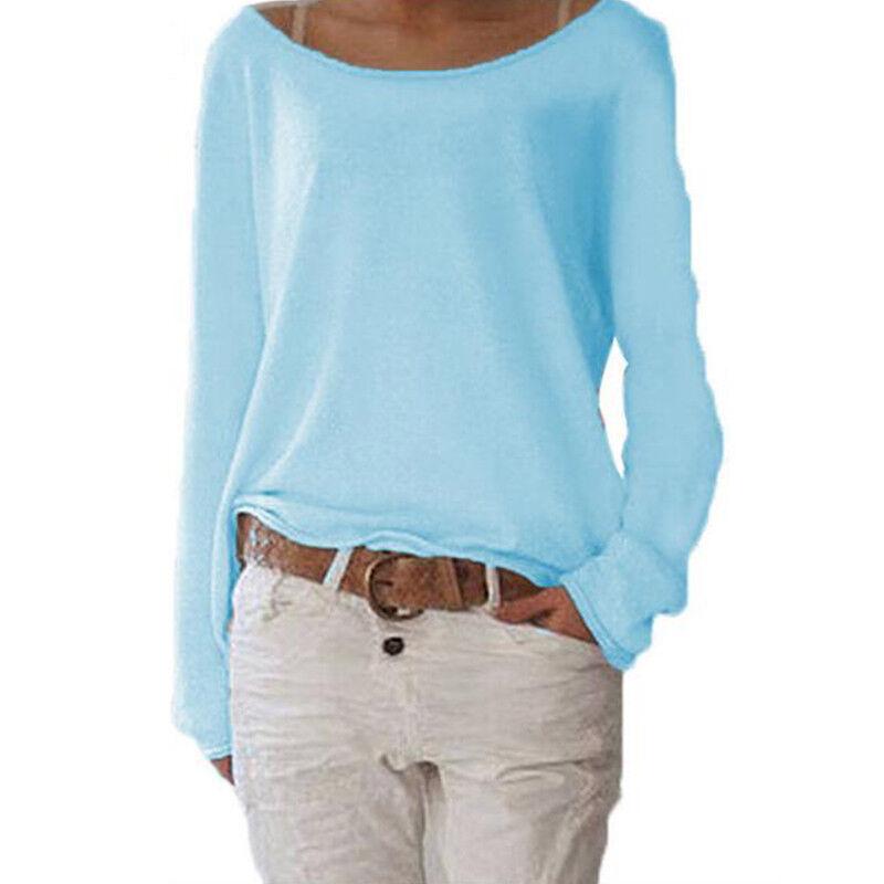 Women's Plain Long Sleeve T-Shirt Blouse Ladies Casual Loose Tops Shirts Tee UK 12