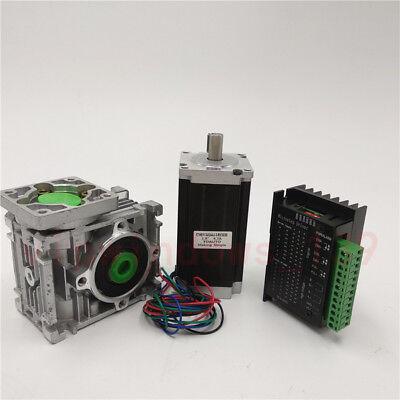Nema23 3NM Stepper Motor Driver Kit 4.2A & Worm Gearbox Speed Reducer 30:1 CNC 8