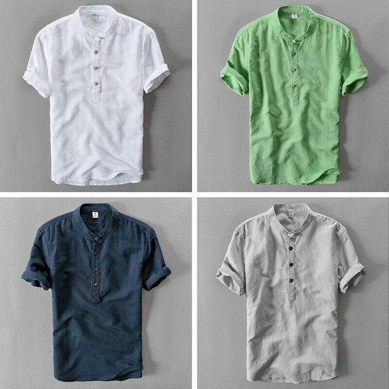 Hommes Lin Coton T-Shirt Manche Courte Henley Col Grand-Père Top T-Shirt Vintage