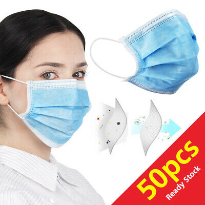 50 PCS Face Mask Medical Surgical Disposable 3-Ply Earloop Mouth Cover 0r 25 PCS 7